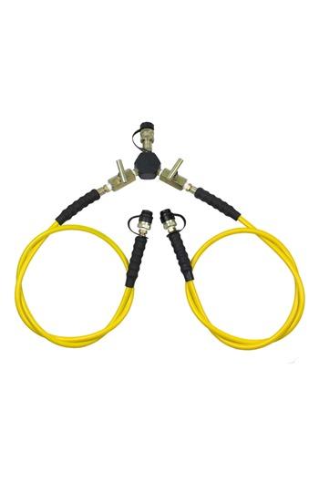 2-Way Manifold c/w 1.8mtr Hoses & Shut-off Valves