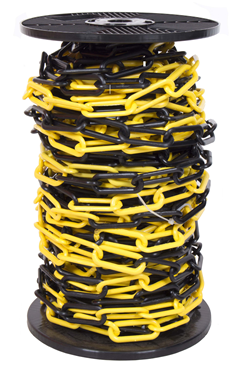 10mm YELLOW & BLACK Plastic Link Chain x 20mtr Reel