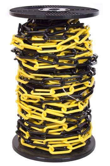 6mm YELLOW & BLACK Plastic Link Chain x 30mtr Reel