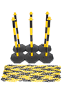 Yellow & Black Plastic Chain Post Set (x6) with 15mtrs of Chain