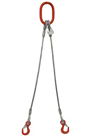 8mm 2-Leg 1100kg Wire Rope Sling c/w Latch Hooks