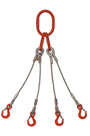 16mm 4-Leg 6900kg Wire Rope Sling c/w Latch Hooks