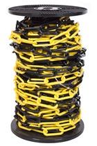 6mm YELLOW & BLACK Plastic Link Chain 30mtr Reel