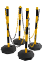 Yellow & Black Plastic Chain Post Set (x4) with 6mtrs of Chain