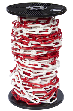 6mm RED & WHITE Plastic Link Chain x 30mtr Reel