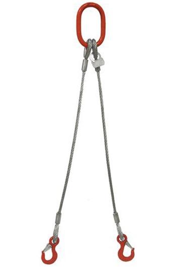 16mm 2-Leg 4600kg Wire Rope Sling c/w Latch Hooks