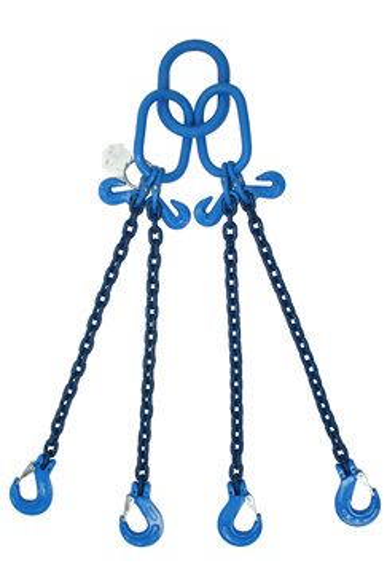 8 tonne Grade 100 4Leg Chainsling c/w Latch Hooks