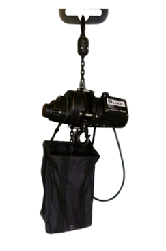 Inverted chainhoist 500kg 240 volt c/w bag