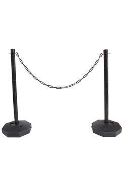 Black Plastic Chain Post Set (x2) with 10mtrs of Chain