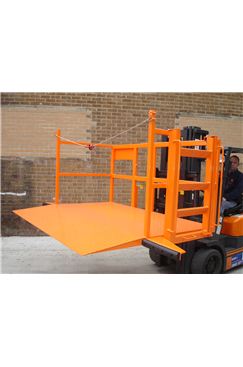 Fork Mounted Loadlifter for loading/unloading Roll Cages
