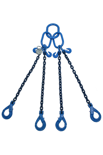 8 tonne Grade 100 4Leg Chainsling c/w Safety Hooks