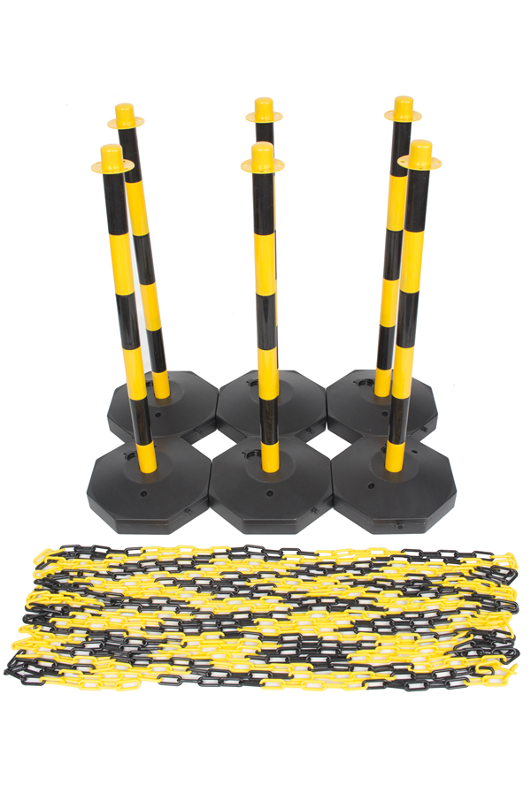 Yellow Amp Black Plastic Chain Post Set X6 With 15mtrs Of