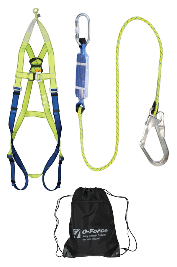 scaffolders harness kit with rescue facility ,shock absorber lanyard & bag