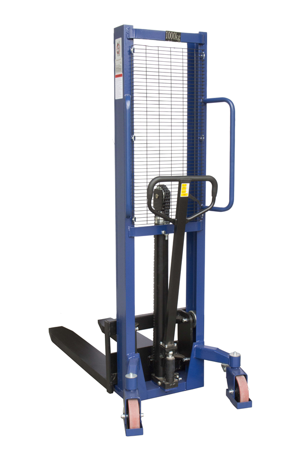 1000kg Manual Stacker Truck 1600mm Lift Height Stack