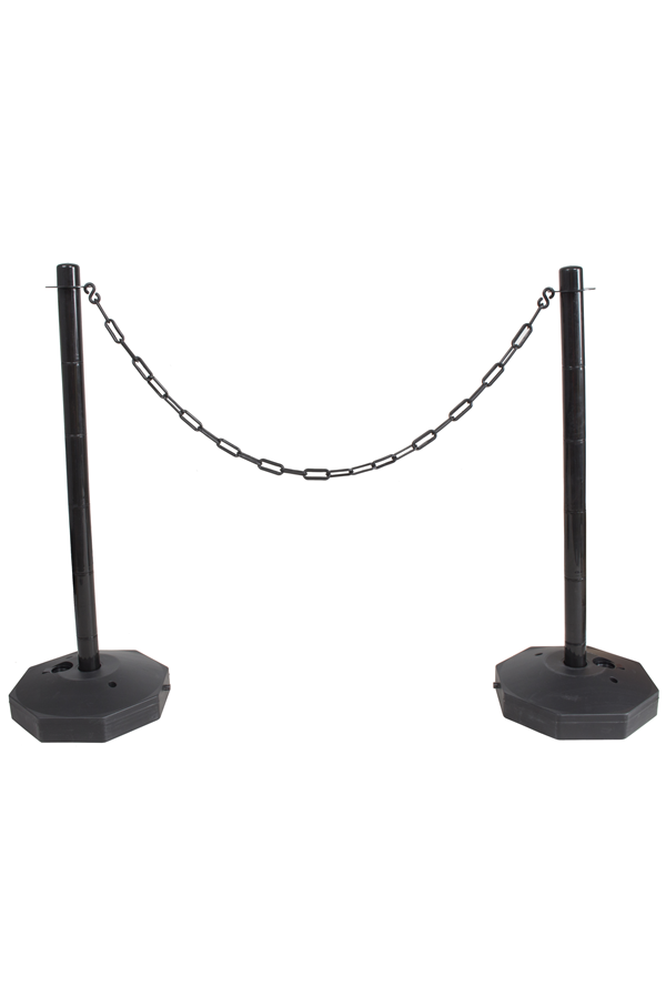 Black Plastic Chain Post Set X2 With 10mtrs Of Chain