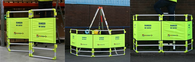Safety barrier in use