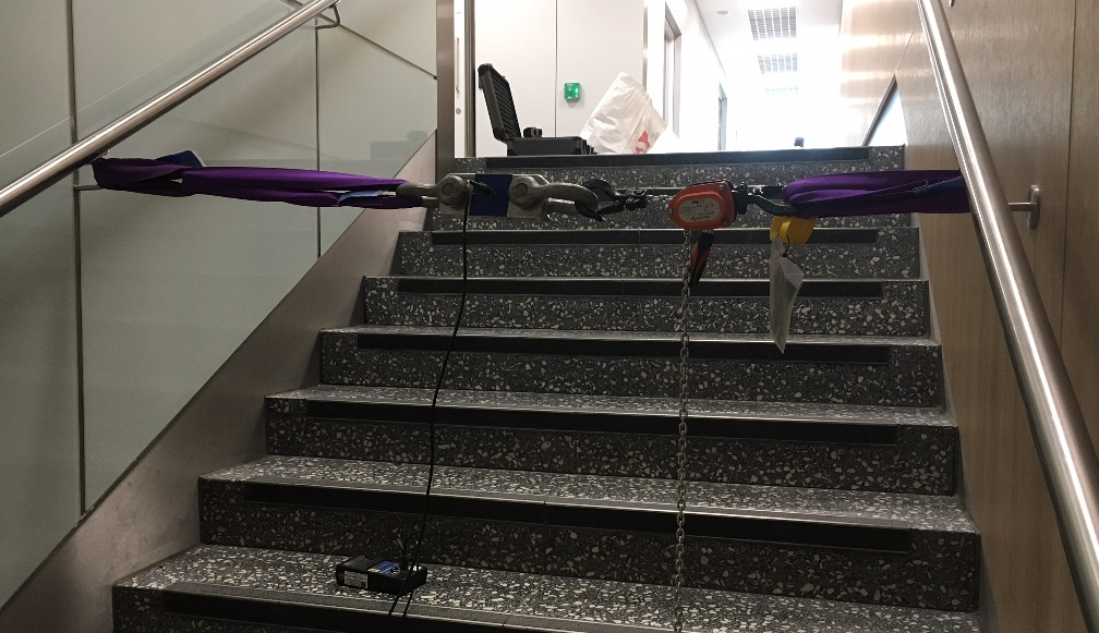 Onsite testing for handrail at Bristol airport