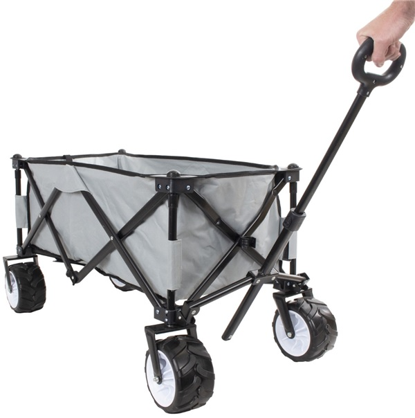 Camping cart with steering handle and heavy-duty wheels
