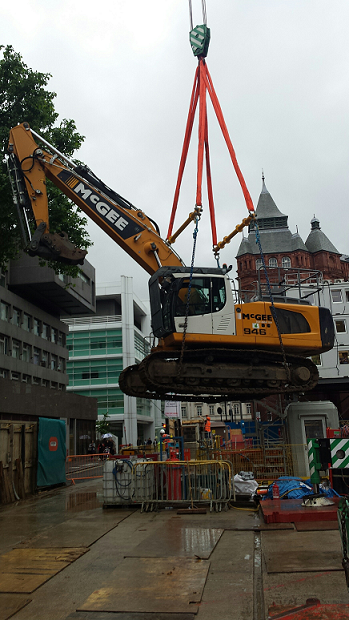 Rental Lifting Equipment Securly Placing Digger on Ground