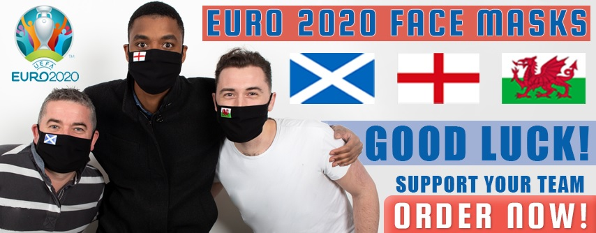 Face masks with Scotland, England and Wales flags