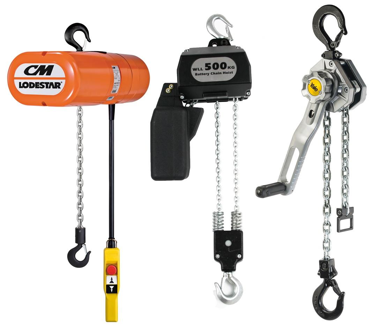 Various types of hoist