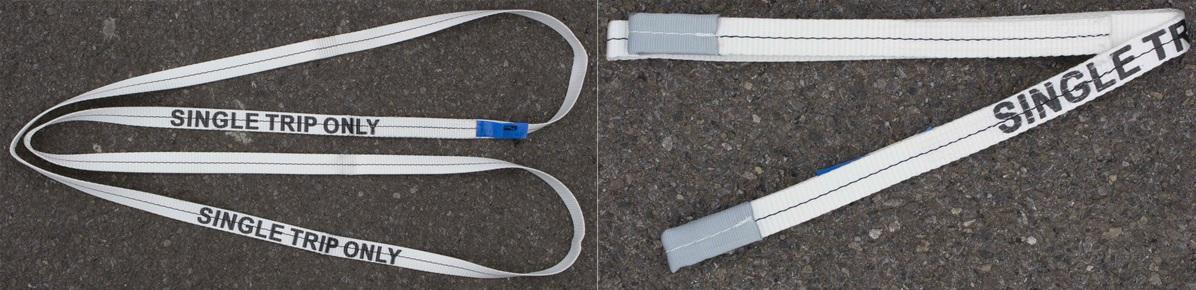 Single use webbing slings